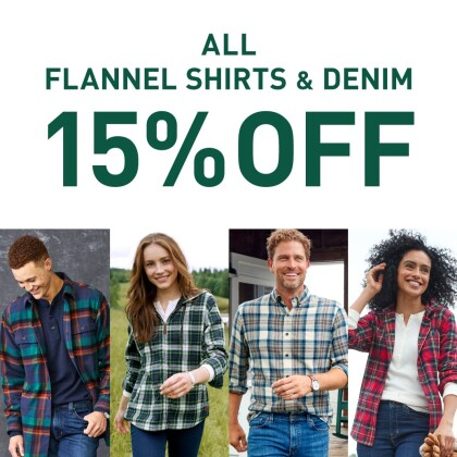 ALL FLANNEL SHIRTS & DENIM 15%OFF!