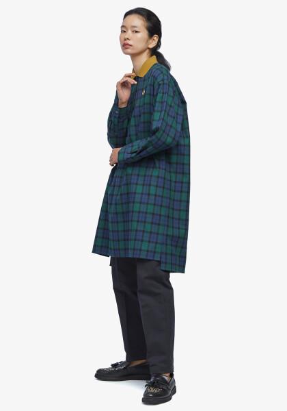 RIBBED COLLAR WOVEN POLO DRESS