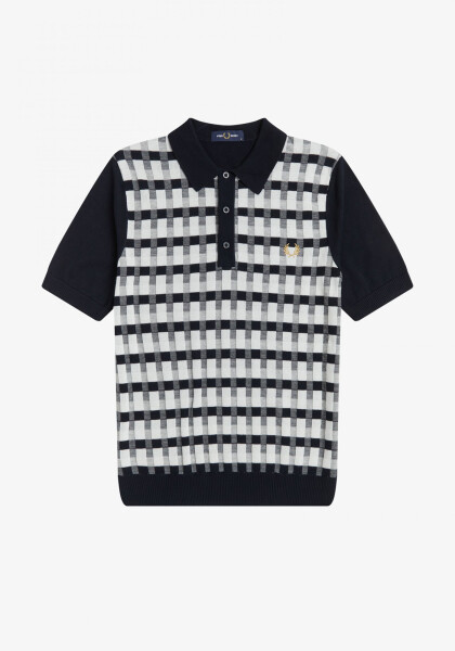 ABSTRACT CHECK KNITTED SHIRT